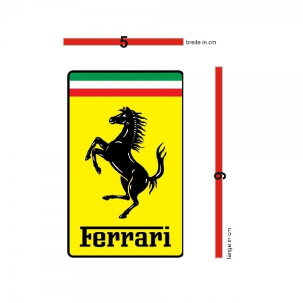 Original Ferrari Emblem / Aufkleber / Sticker 5x9 cm