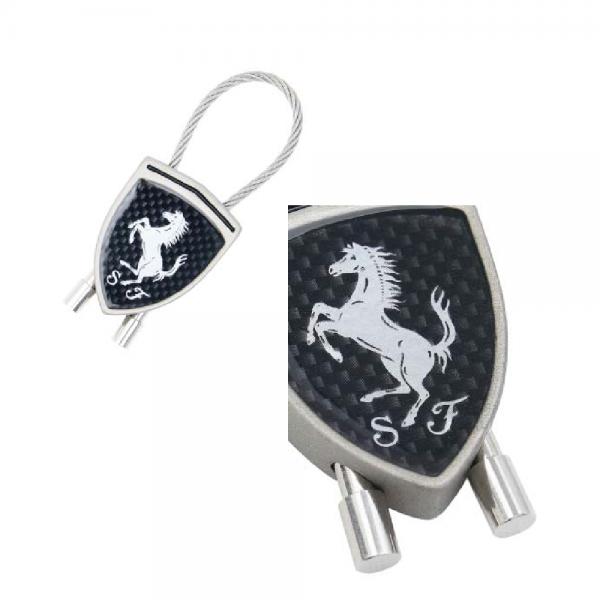 Ferrari Schlüsselanhänger Metallschlaufe Carbon schwarz