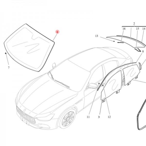 Original Maserati Windschutzscheibe Frontscheibe für Ghibli