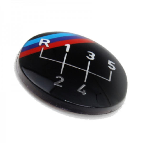 Original BMW M Emblem / Aufkleber / Plakette für Schaltknauf 5 gang selbstklebend 3er 5er